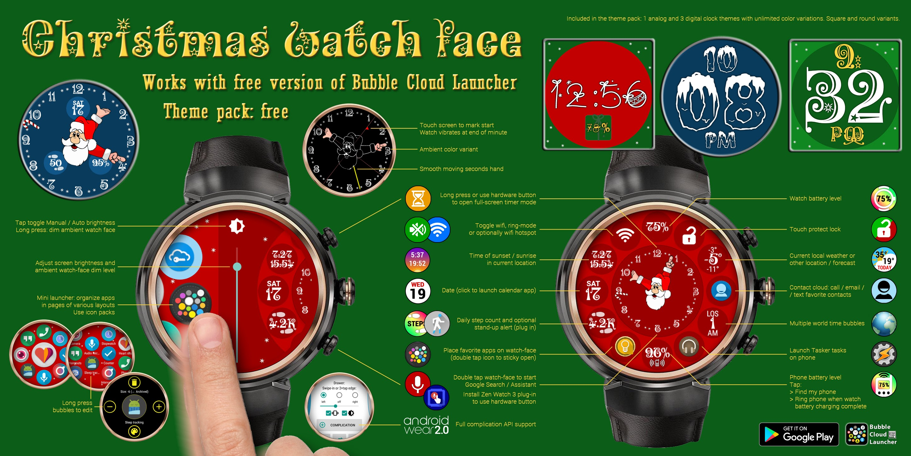 Free Christmas watch face for Android Wear