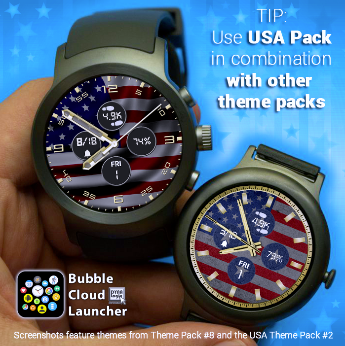 Labor Day Tip: Combine the USA Theme PACK with other theme packs for beautiful festive watch faces.