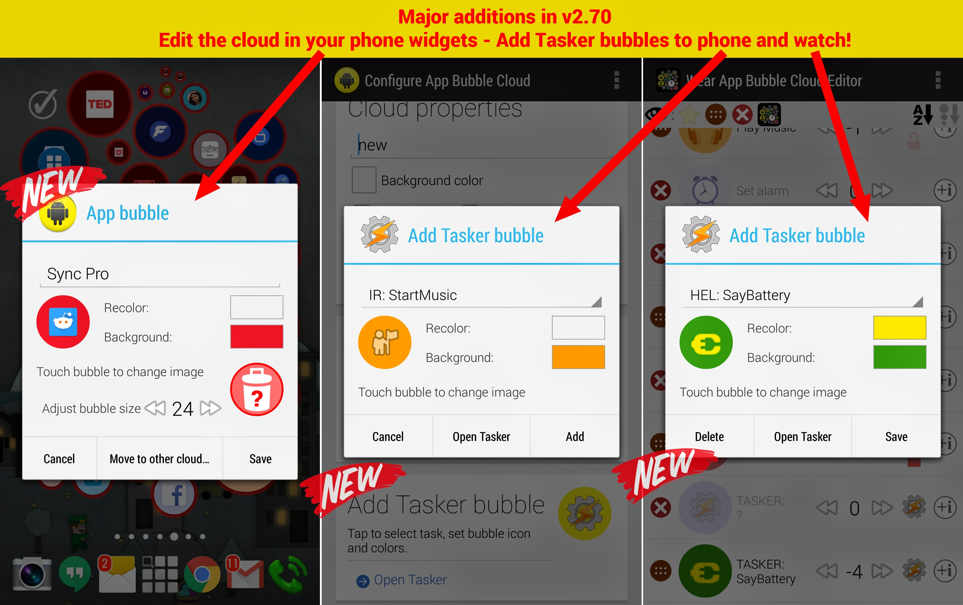 Coming soon: → Edit all bubbles! + Tasker integration!